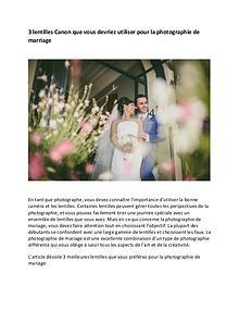 3 lentilles Canon qui devraient être utilisées pour le mariage