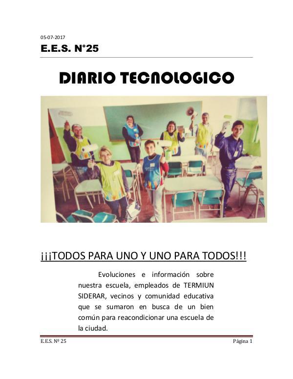 DIARIO TECNOLÓGICO DE LA E.E.S. Nº 25 DIARIO TECNOLOGICO 6to AÑO listo