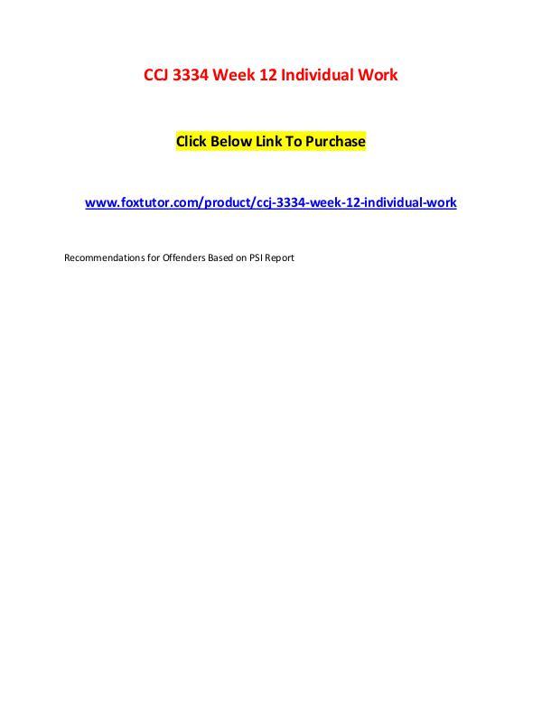 CCJ 3334 Week 12 Individual Work CCJ 3334 Week 12 Individual Work