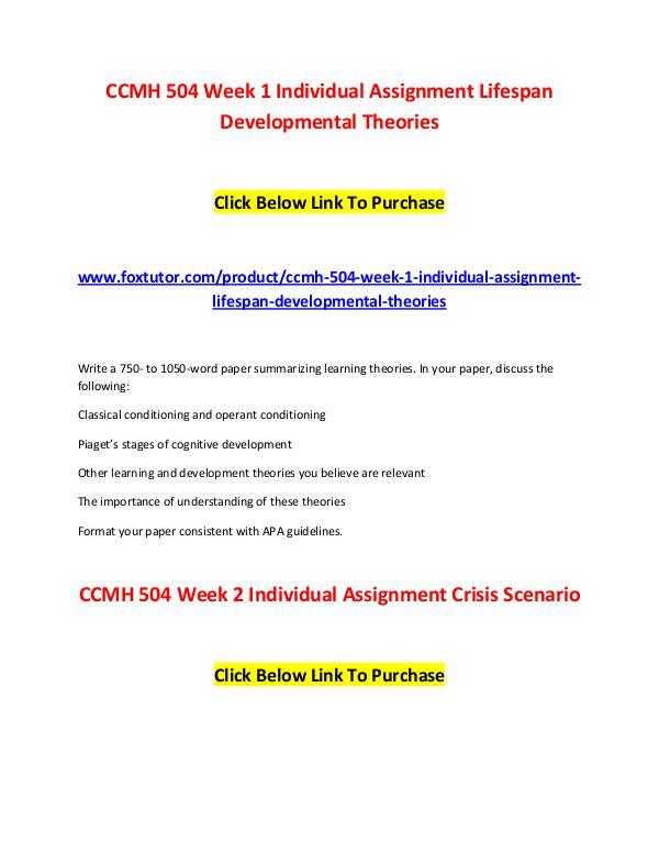 CCMH 504 All Assignments CCMH 504 All Assignments