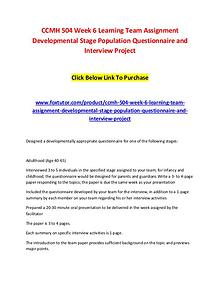 CCMH 504 Week 6 Learning Team Assignment Developmental Stage Populati