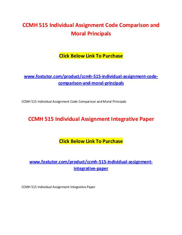 CCMH 515 All Assignments CCMH 515 All Assignments