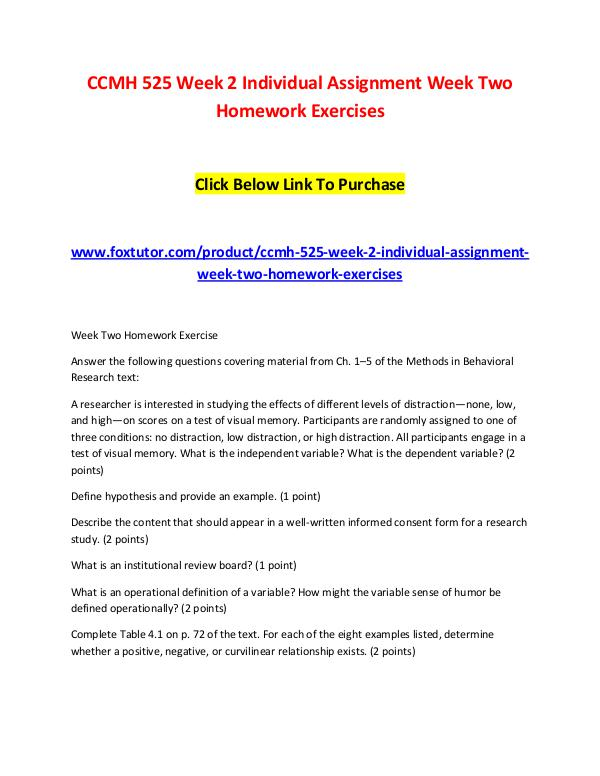 CCMH 525 Week 2 Individual Assignment Week Two Homework Exercises CCMH 525 Week 2 Individual Assignment Week Two Hom