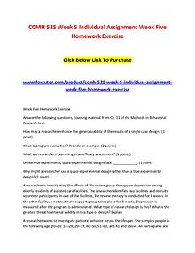 CCMH 525 Week 5 Individual Assignment Week Five Homework Exercise