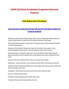 CCMH 525 Week 8 Individual Assignment Research Proposal
