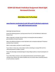 CCMH 525 Week 8 Individual Assignment Week Eight Homework Exercise