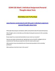 CCMH 535 Week 1 Individual Assignment Personal Thoughts about Tests