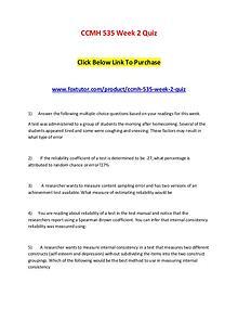 CCMH 535 Week 2 Quiz