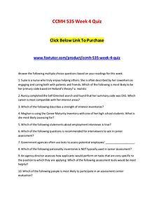 CCMH 535 Week 4 Quiz