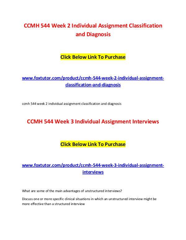 CCMH 544 All Assignments CCMH 544 All Assignments
