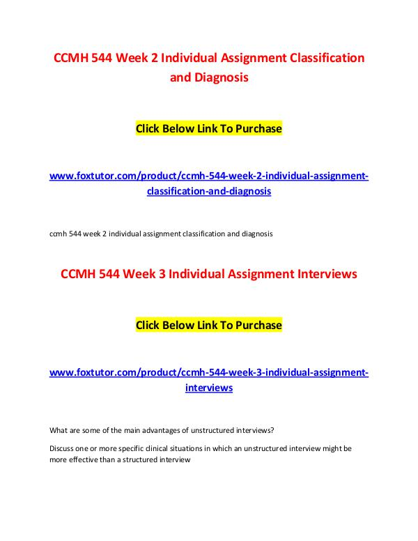 CCMH 544 All Assignments CCMH 544 All Assignments