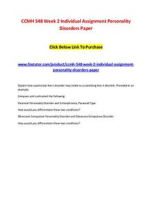 CCMH 548 Week 2 Individual Assignment Personality Disorders Paper