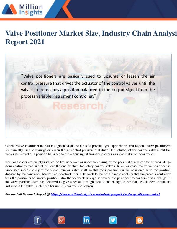 Valve Positioner Market Size, Industry Chain Analy