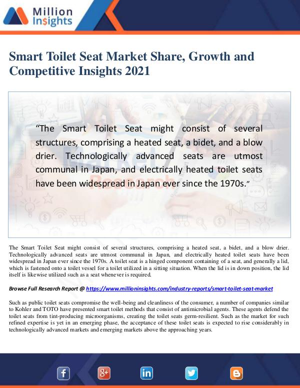 Manufacturing and Construction Reports by Million Insights Smart Toilet Seat Market Share, Growth and Competi