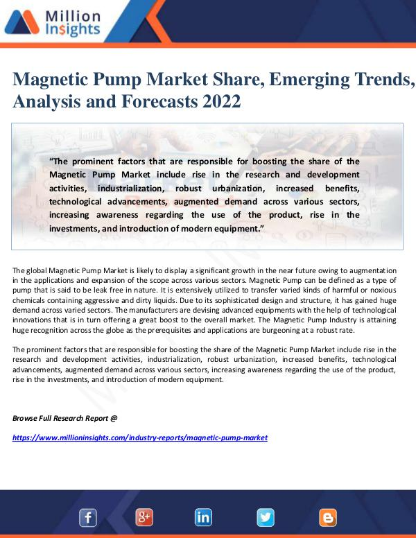 Magnetic Pump Market Share, Emerging Trends, Analy