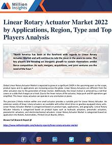 Manufacturing and Construction Reports by Million Insights Linear Rotary Actuator Market 2022 by Applications