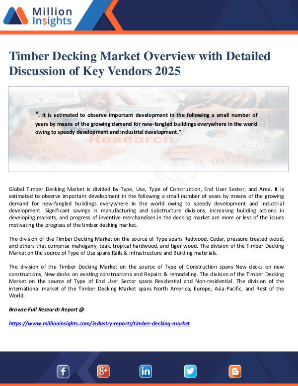 Manufacturing and Construction Reports by Million Insights Timber Decking Market Overview with Detailed Discu