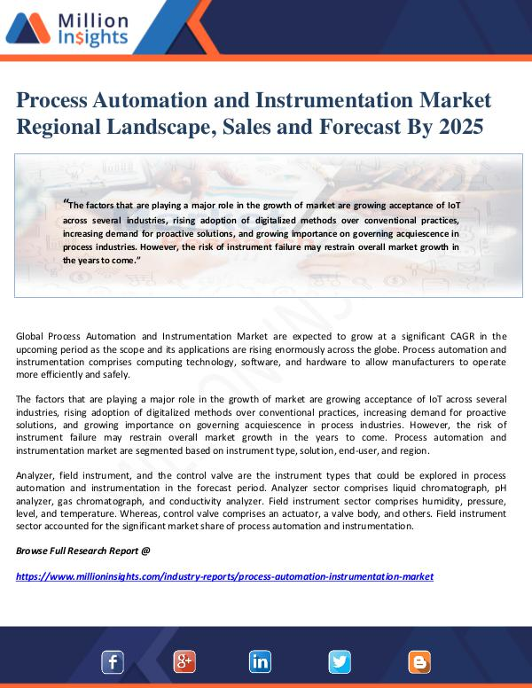 Manufacturing and Construction Reports by Million Insights Process Automation and Instrumentation Market Regi