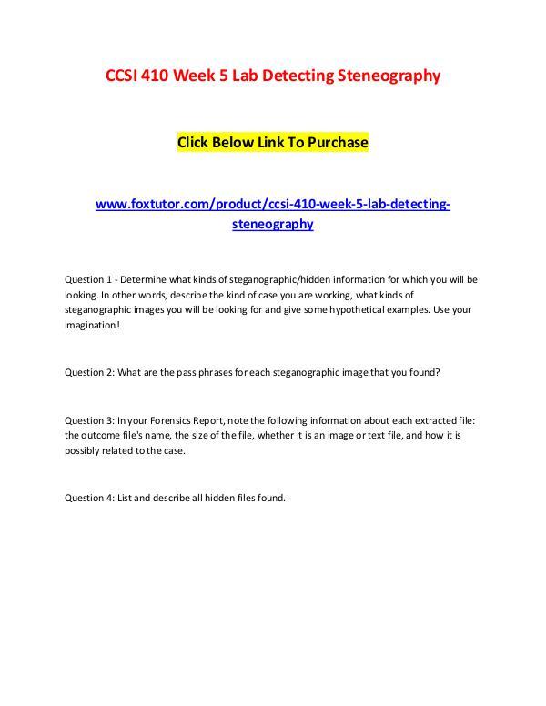 CCSI 410 Week 5 Lab Detecting Steneography CCSI 410 Week 5 Lab Detecting Steneography