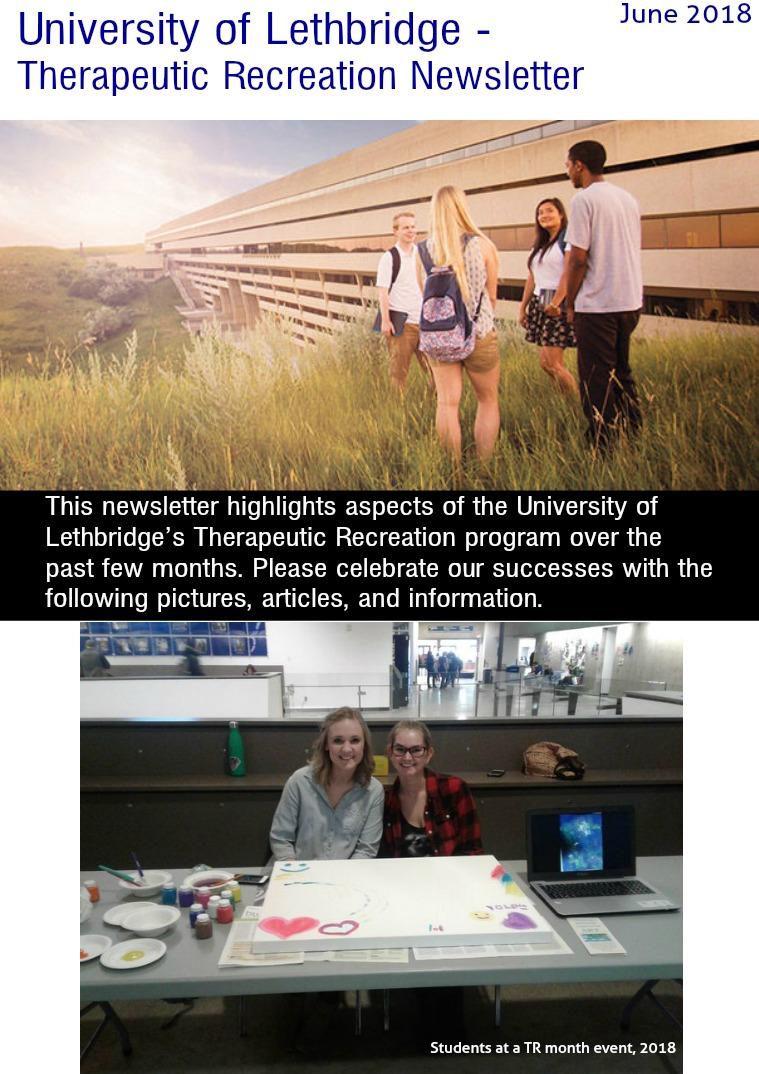 University of Lethbridge - Therapeutic Recreation Newsletter 1