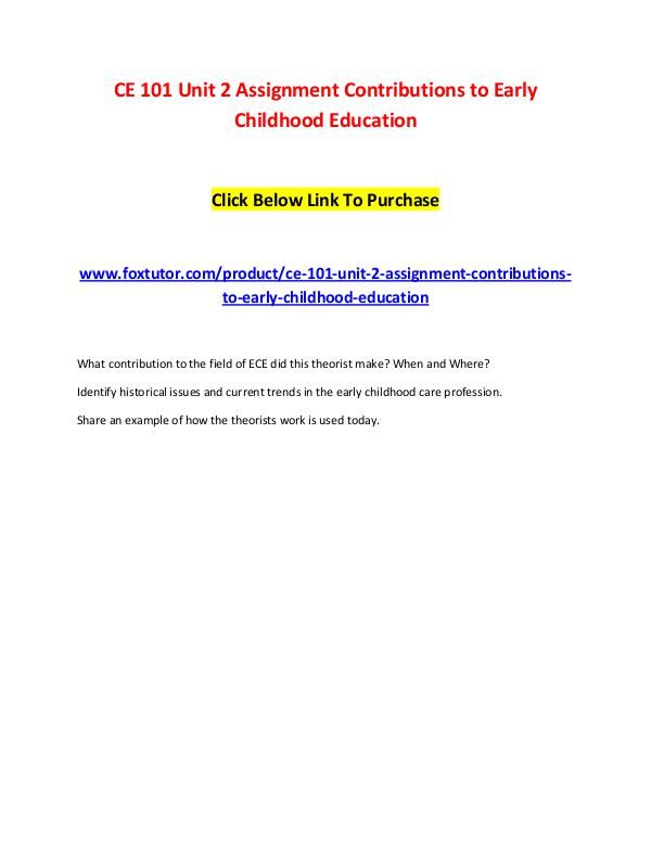 CE 101 Unit 2 Assignment Contributions to Early Childhood Education CE 101 Unit 2 Assignment Contributions to Early Ch