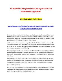 CE 300 Unit 6 Assignment ABC Analysis Chart and Behavior Change Chart