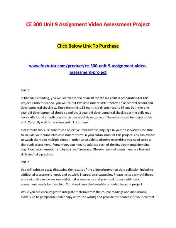Ce 300 Unit 9 Assignment Video Assessment Project Ce 300 Unit 9