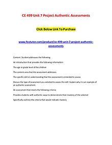 CE 499 Unit 7 Project Authentic Assessments