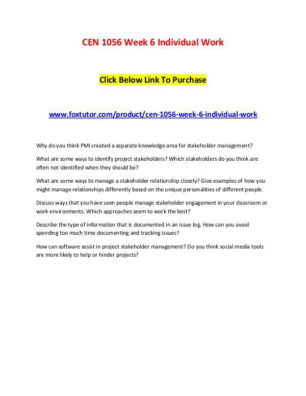 CEN 1056 Week 6 Individual Work CEN 1056 Week 6 Individual Work