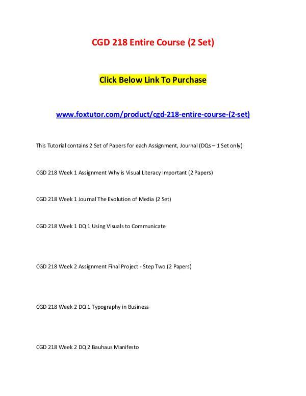 CGD 218 Entire Course (2 Set) CGD 218 Entire Course (2 Set)