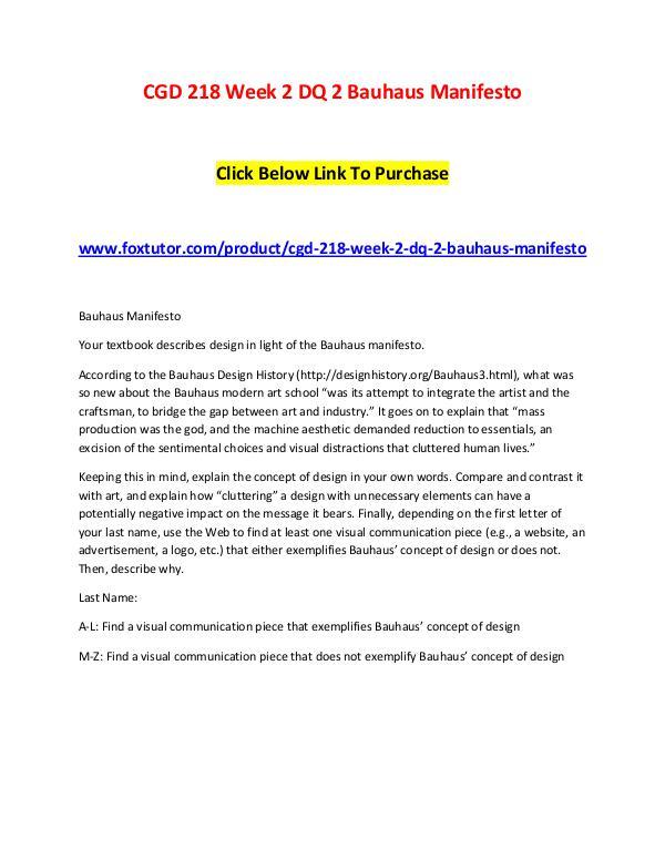 CGD 218 Week 2 DQ 2 Bauhaus Manifesto CGD 218 Week 2 DQ 2 Bauhaus Manifesto