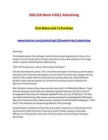 CGD 218 Week 4 DQ 2 Advertising