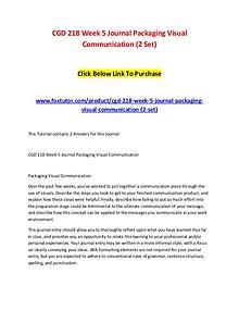 CGD 218 Week 5 Journal Packaging Visual Communication (2 Set)
