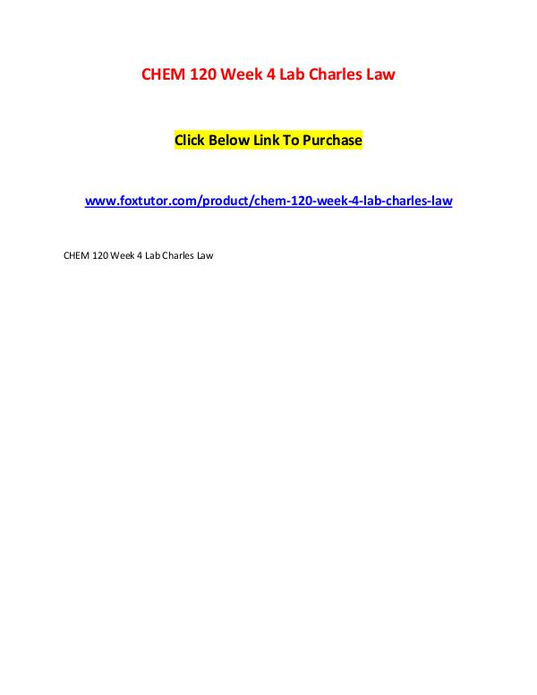 CHEM 120 Week 4 Lab Charles Law CHEM 120 Week 4 Lab Charles Law