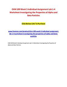 CHM 109 Week 5 Individual Assignment Lab 1-4 Worksheet Investigating