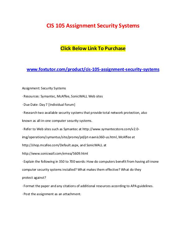 CIS 105 Assignment Security Systems CIS 105 Assignment Security Systems