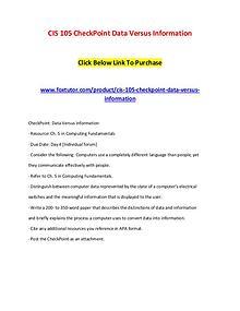 CIS 105 CheckPoint Data Versus Information