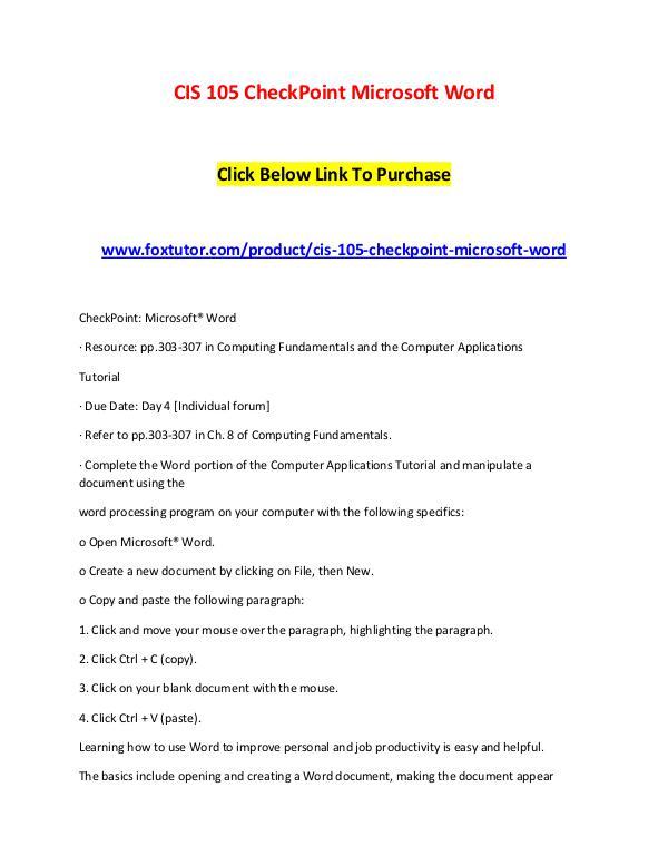 CIS 105 CheckPoint Microsoft Word CIS 105 CheckPoint Microsoft Word