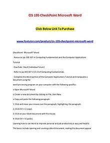 CIS 105 CheckPoint Microsoft Word