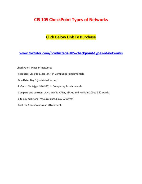 CIS 105 CheckPoint Types of Networks CIS 105 CheckPoint Types of Networks