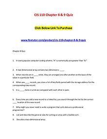 CIS 110 Chapter 8 & 9 Quiz