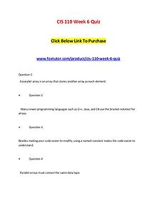 CIS 110 Week 6 Quiz