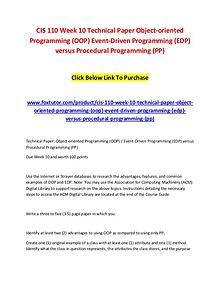 CIS 110 Week 10 Technical Paper Object-oriented Programming (OOP) Eve