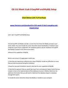 CIS 111 Week 5 Lab 3 EasyPHP and MySQL Setup