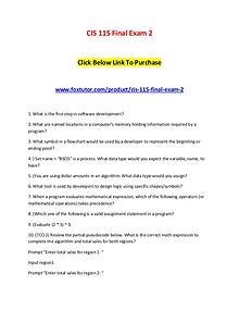 CIS 115 Final Exam 2