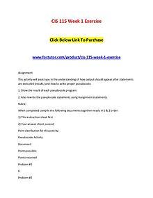 CIS 115 Week 1 Exercise
