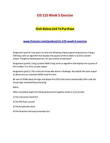 CIS 115 Week 5 Exercise