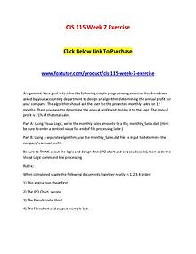 CIS 115 Week 7 Exercise