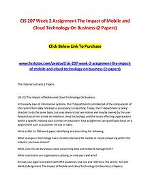 CIS 207 Week 2 Assignment The Impact of Mobile and Cloud Technology O