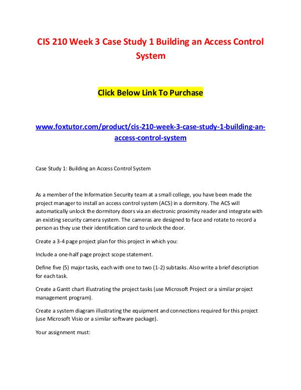 CIS 210 Week 3 Case Study 1 Building an Access Control